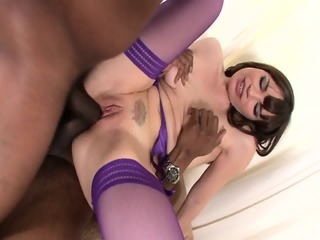 Black Cock For Cutie In Violet Stockings