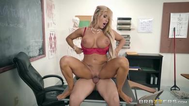 Busty teacher Tegan James gets fucked and facialized on her desk