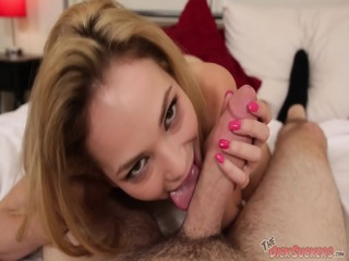 Peite Blonde Sucks Fat Cock