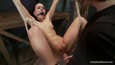 Awesome pretty brunette girl tied up pussy open and good
