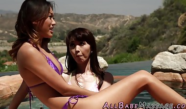 Asian lesbian masseuse foursome finger and lick pussy outside