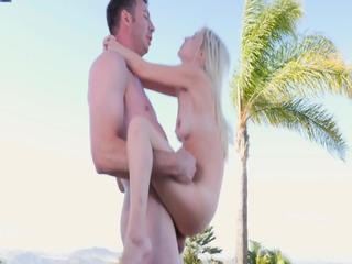 Glam Blonde Plays With Stiff Pole