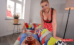 German Blonde girl giving you beer and her pussy