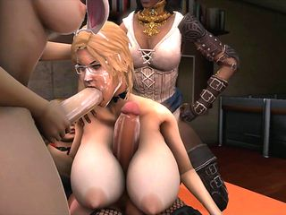 Blonde 3d shemale fucking and sucking on dicks