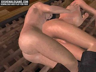 Foxy 3D shemale gets fucked hard in her tight ass