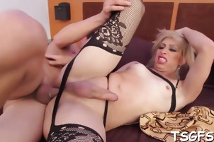 Nasty tranny in a wild action