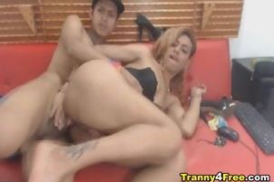 Hot Tranny Gets a Wild Ass Ramming with Cumshot
