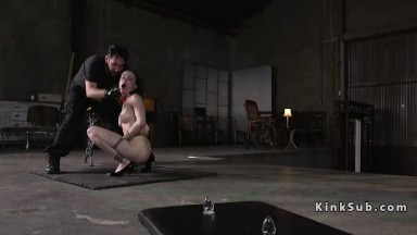 Tied up hottie gets anal training