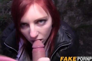 Sexy redhead babe fucked outdoor in her wet juicy cunt