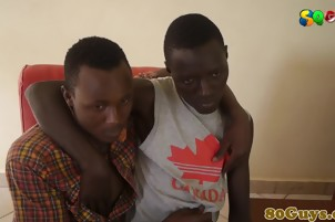Ethnic africans teens passionately sucking dick after kissing