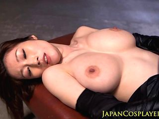 Japanese leather fetish babe doggystyle