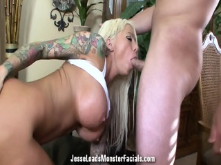 Inked Babe With Cum Load On Face