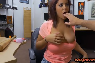 Pierced nipples babe railed by pawn guy at the pawnshop
