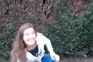 Teen brunette blowjob in garden
