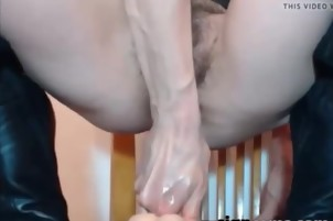 Teen with hairy pussy anal dildo riding