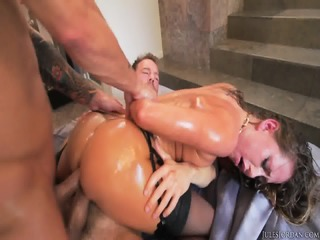 Oiled Slut Gets Double Fucked