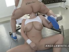 Busty Angela White and Big Booty Kelly Divine Anal Fucking