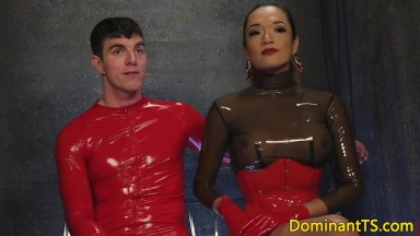 Rimmed t-girl asian dominates over submissive