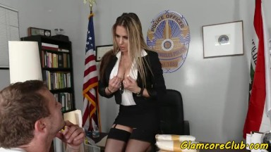 Cockriding porn industry star hammered in police outfit