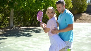 athletic cougar aaliyah enjoy taunts her tennis instructor