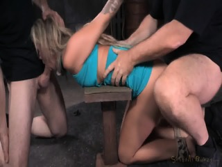 Blindfolded Blonde Fucked By Two Guys