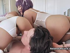 Busty Asian kitties sharing hard cock on GotPorn 11235052