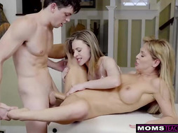 Big titted milf is teaching her slutty step daughter some sexy tricks while having wild threesomes