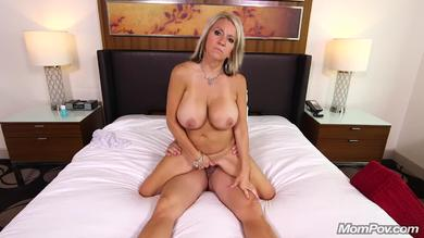Big titted tattooed blonde MILF has anal fucking in POV