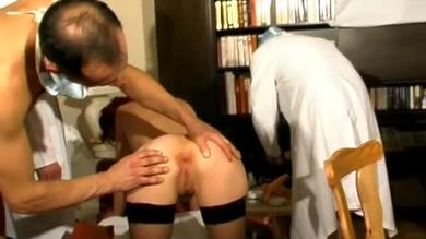 Anal playing done by two doctors