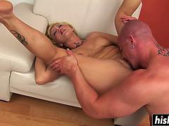 Blonde chick fucks until he cums on GotPorn 11254942