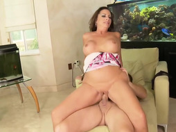 Sausage luving mature dame with giant melons Margo Sullivan got humped fine in the living bedroom