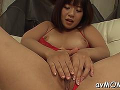Sultry busty chick wakaba onoue sextoy her tight love tunnel on GotPorn 11297140