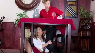 Nasty Waitress Kirsten Lee Starts Sucking Under Table
