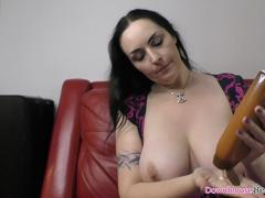 Brunette mature woman oiling up her lovely natural boobs on GotPorn 11502896