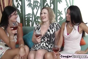 Drunk milfs sharing long younger shaft on couch