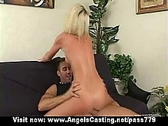 Innocent nude blonde riding cock and receiving cumshot on face