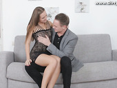 Lovely student Limonika gives a blowjob and gets her pussy rammed for money