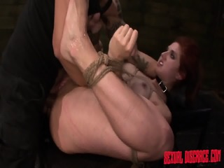 Tied Redhead Fucked In Face And Ass
