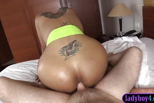 Sexy body ladyboy blowjob and anal in reverse cowgirl