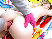Talented whore Lila Fray gives a deepthroat blowjob and takes huge dick in her oiled up hole