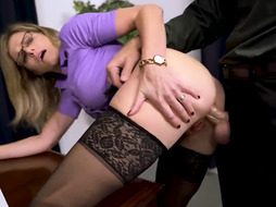Monstrous jugged assistant Cory Pursue loves to have casual rectal romp with her married chief