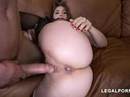 Super Naughty damsel Lena Paul deep throats fuck stick while getting doublefucked on the bed finer than ever
