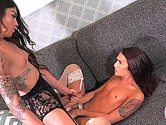 Stunning ts babes in lingerie get fucking