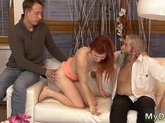 Old granny with big boobs but her man had to go out and youthful gal left alone with her on GotPorn 11966066