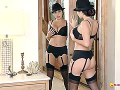 Laura bailey strips and masturbates in the bedroom