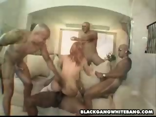Four black dicks ravage a white slut