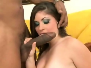 Brunette giving head on big cock