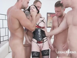 Anna de Ville is having harsh bang out with some random fellows whose peckers are highly firm