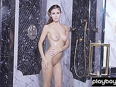 Sensual striptease show with amateur beauties outdoor