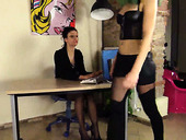 Kinky office girls Tessa and Thena show their feet at work
